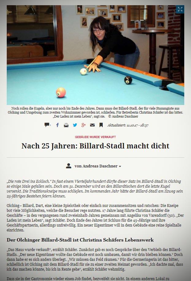 Presse zur Schließung Billard Stadl